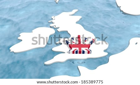 great britain 3d map with flag textured queen icon like a crown symbol - stock photo