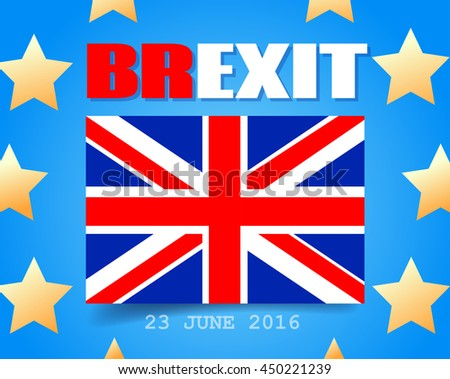Great Britain Flag and European Union Flag. EU UK Referendum. United Kingdom exit from Europe. Brexit. - stock photo