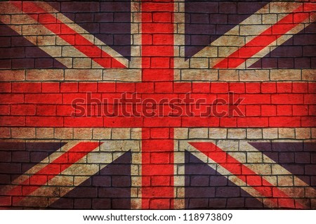 Great Britain flag brick wall background - stock photo