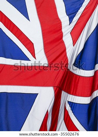 Great Britain flag flying in the wind