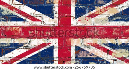 Great Britain flag painted on old brick wall texture background - stock photo