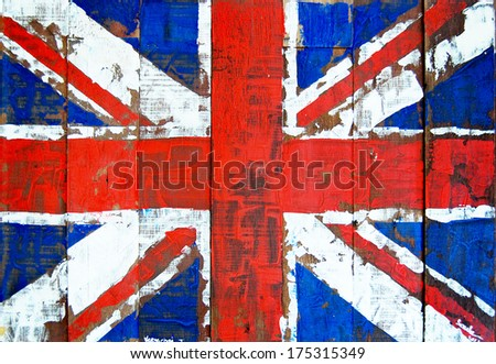 Great britain flag painted on old wood background  - stock photo