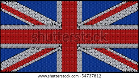 Great Britain Flag (Union Jack) assembled of diamonds. Extralarge resolution. Over black. Other gems are in my portfolio.