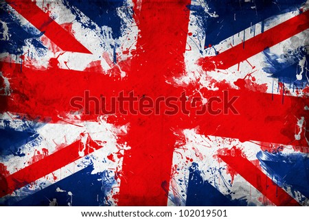Great Britain flag. Union Jack or United Kingdom flag in grunge technique. - stock photo
