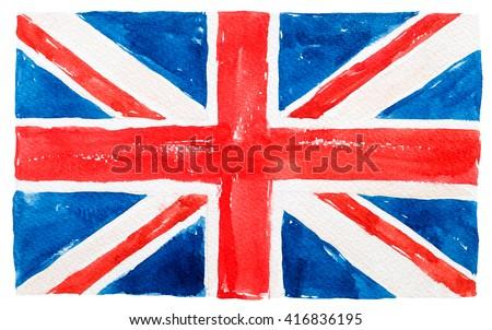 great britain flag watercolor - stock photo