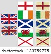 Great Britain flags. Raster version, vector file available in portfolio. - stock photo
