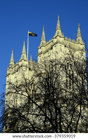 Great Britain, London, church spire of Westminster Abbey - stock photo