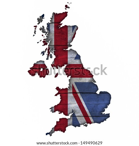 Great Britain Map And Flag On Wood