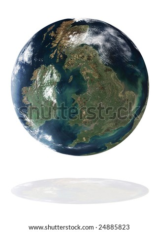 Great Britain on the Earth planet. Data source: Nasa - stock photo