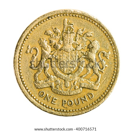 Great Britain One Pound Coin Isolated - stock photo