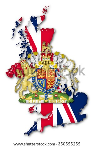 Great Britain Volume 3d Flag and Coat of arms close up on a white background. - stock photo
