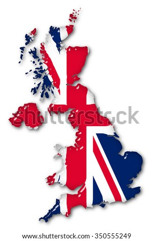 Great Britain Volume 3d Flag close up on a white background. - stock photo