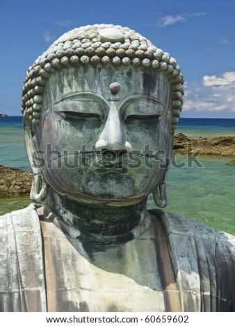 Great Buddha in Okinawa background - stock photo