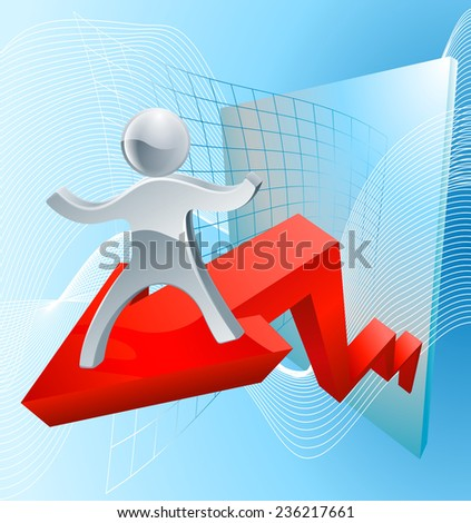 Great business results concept with a silver person mascot on a red profit arrow - stock photo