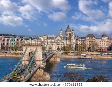 Great Chain Bridge in beautiful Budapest, Hungary - stock photo