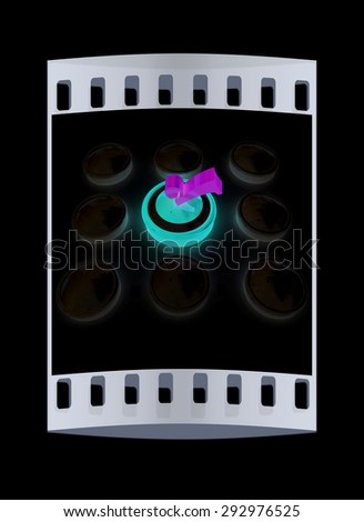 Great choice concept. On a black background. The film strip - stock photo