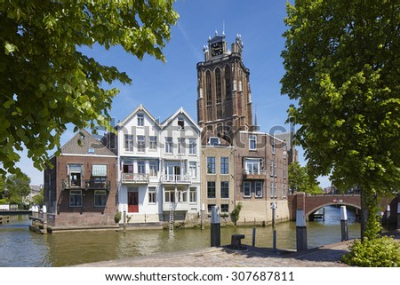 Great Church of the city of Dordrecht, province Zuid-Holland, the Netherlands - stock photo