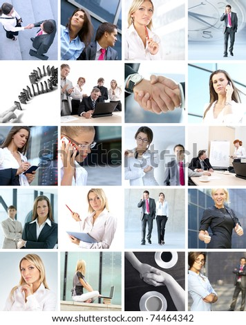 Great collage made of many different images about business style of life - stock photo