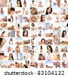 Great collage made of 100 pictures about health, dieting, sport and spa - stock photo
