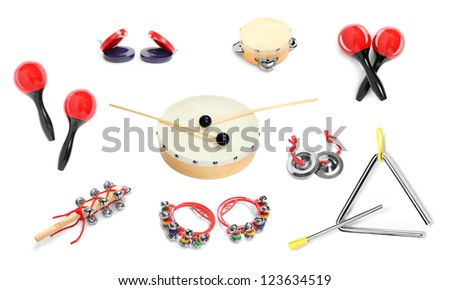 Great collection of a percussion instruments for a carnival musicians. - stock photo