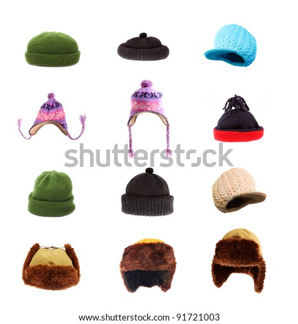 Great collection of warm headwear for winter weather. Fur-caps and homemade woolen knit hats. - stock photo