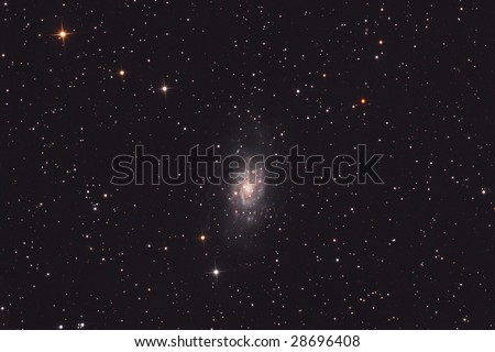 Great colorful galaxy in constellation of Camelopardalis - stock photo