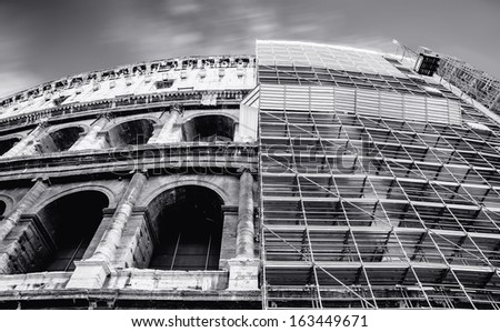 Great Colosseum, Rome, Italy. Black and white photo