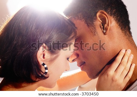 Great Couple In Love Kissing - lens flare
