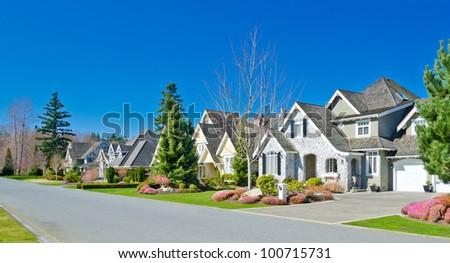 Great cozy neighborhood in suburbs of Vancouver.  Canada. - stock photo