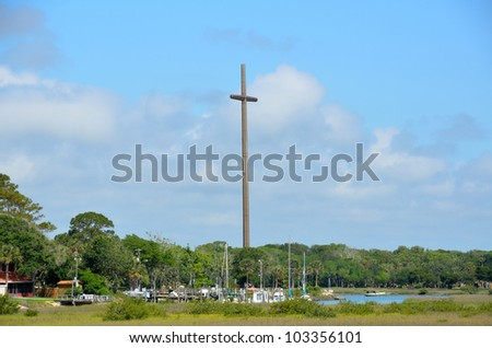 Great Cross At historic St. Augustine, Florida stands 208 feet tall. Marks the place where Christianity was first established in the United State. - stock photo