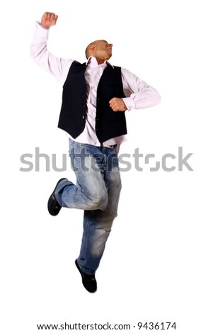 Great Day Young businessman jumping in joy - over pure white background. Slight motion blurriness! - stock photo