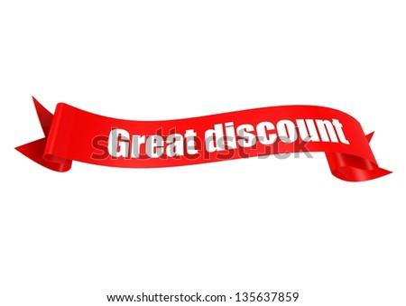 Great discount ribbon - stock photo