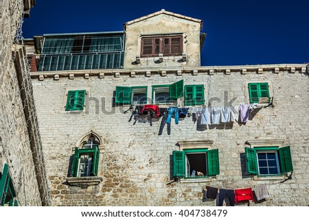 Great example of traditional mediterranean architecture in town Sibenik on Adriatic sea, in Croatia. / Traditional architecture in Croatia. - stock photo