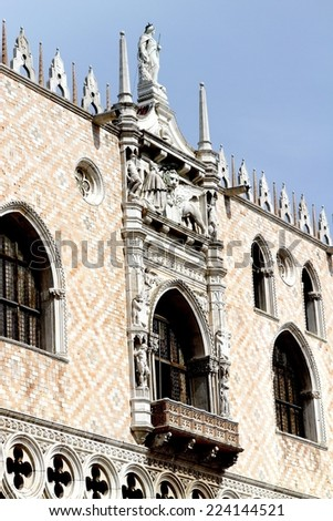 great  facade of the Ducal Palace in venice in italy - stock photo