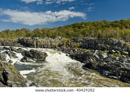 Great Falls along the Potomac  River on the Virginia side. - stock photo
