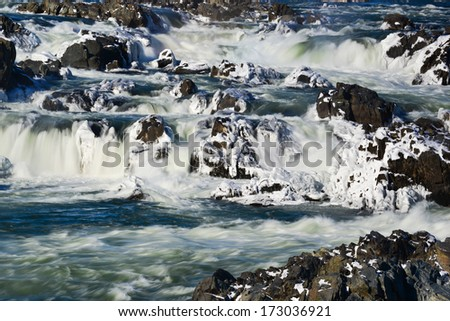 Great Falls National Park in Winter season, Virginia USA  - stock photo