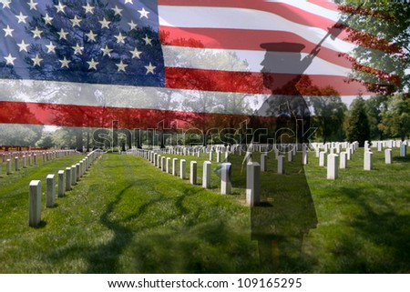 Great for fourth of July, Memorial Day, labour day or flag day. Grave stones in a row with a soldier silhouette and an US National flag. - stock photo