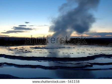 Great Fountain Geyser at Sunset - stock photo