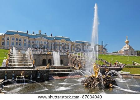 Great fountain Samson in Peterhof - stock photo