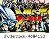 Great Graffiti tag, colorful and vibrant showing spray paints - stock