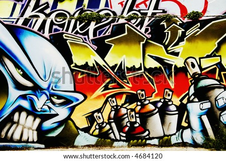 Great Graffiti tag, colorful and vibrant showing spray paints - stock photo
