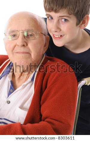 Great Grandfather and Grandson together vertical - stock photo