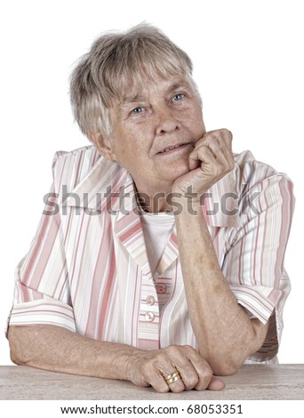 Great Grandmother with Hand On Chin portrait on white  background - stock photo