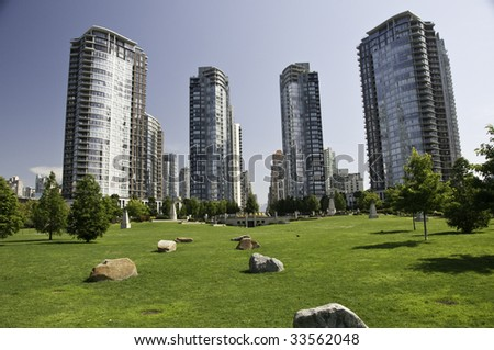 Great green space within the highrise condos for the general public.Vancouver , British Columbia - stock photo
