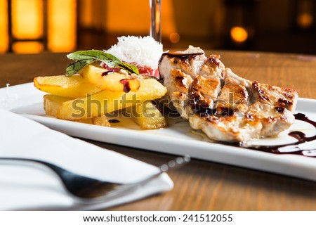 Great grilled meat steak in a restaurant. - stock photo