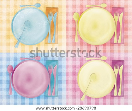 Great grungy table sets, Live colors - stock photo