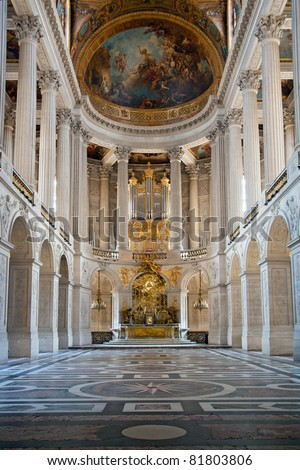 Great Hall Ballroom in Versailles Palace Paris France - stock photo