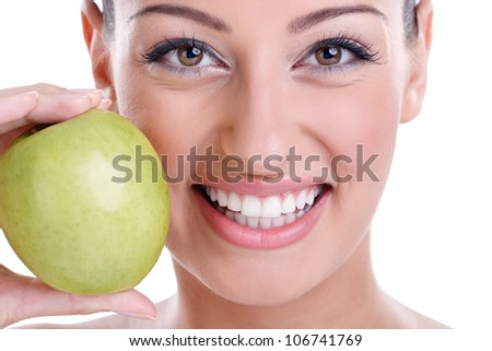great healthy smile with green apple - stock photo