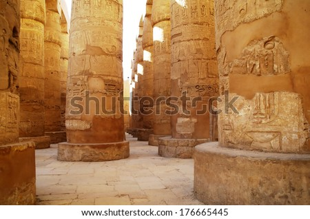 Great Hypostyle Hall at the Temples of Karnak (ancient Thebes). Luxor, Egypt