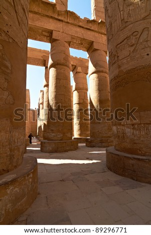 Great hypostyle hall in ancient temple of Amun at Karnak, Egypt - stock photo